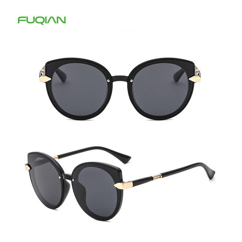 Designer Spring Hinge Kaleidoscope Glasses Women Cat Eye Polarized Sunglasses