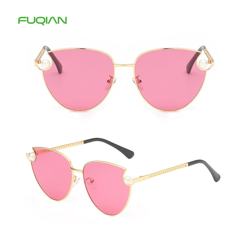 2019 Promotional Pearl Metal Chain Cat Eyes Women Sunglasses2019 Promotional Pearl Metal Chain Cat Eyes Women Sunglasses