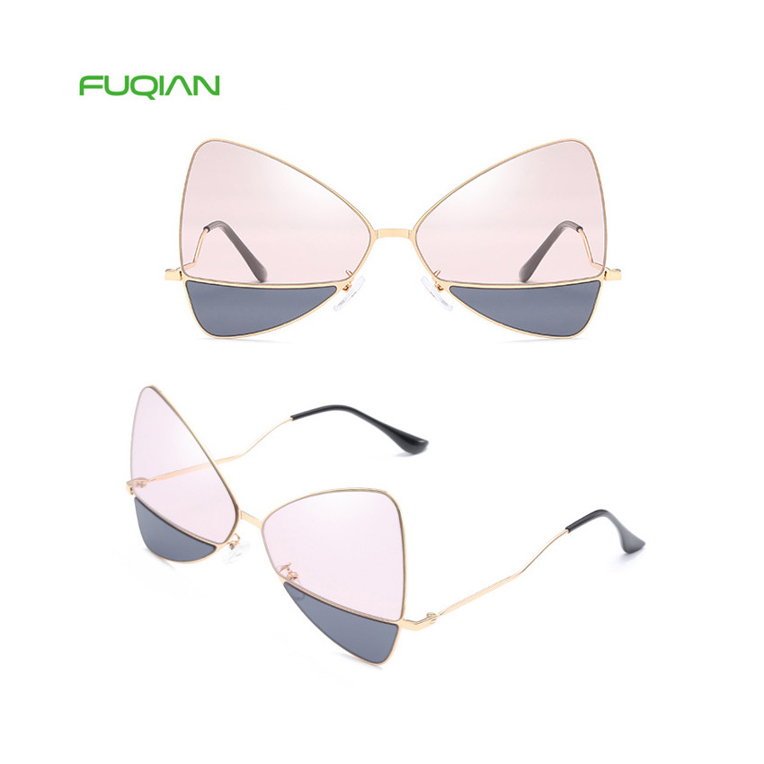 2019 Trendy Bow Triangle Metal Frame Designer Women Shades Sunglasses