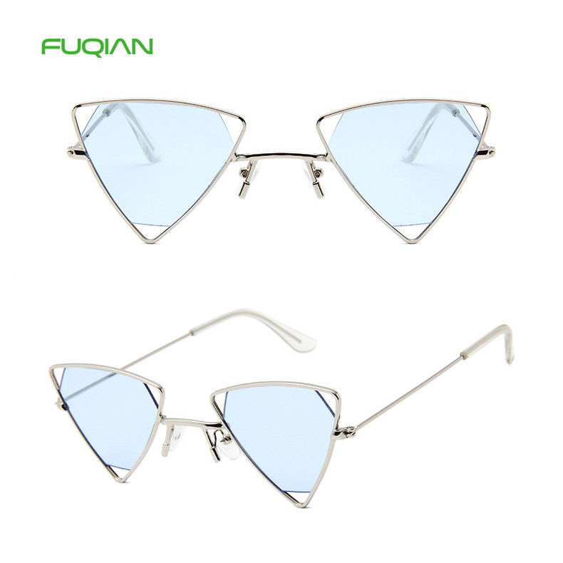 Fashion Triangle Metal Designer Frame Women Mirror Shades Sunglasses