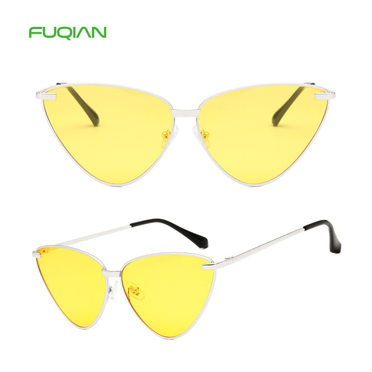 Wholesale Fashionable Solid Color Triangle Ladies Cat Eye SunglassesWholesale Fashionable Solid Color Triangle Ladies Cat Eye Sunglasses