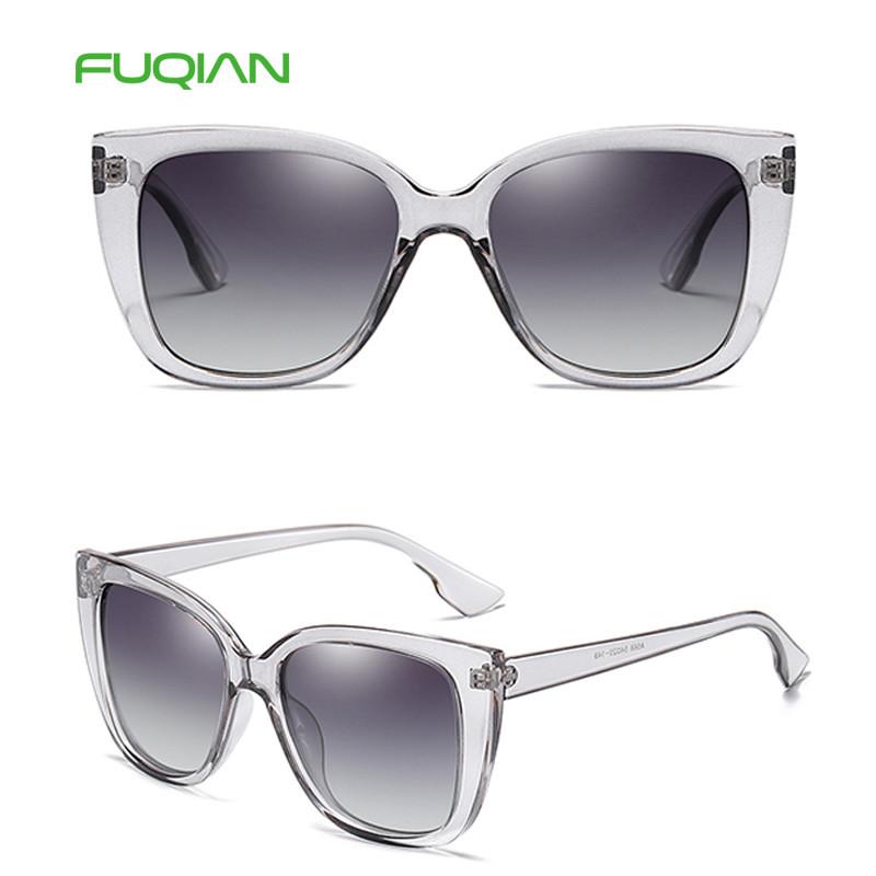 Stylish Transparent Frame Custom Logo Polarized Women Cat Eye SunglassesStylish Transparent Frame Custom Logo Polarized Women Cat Eye Sunglasses