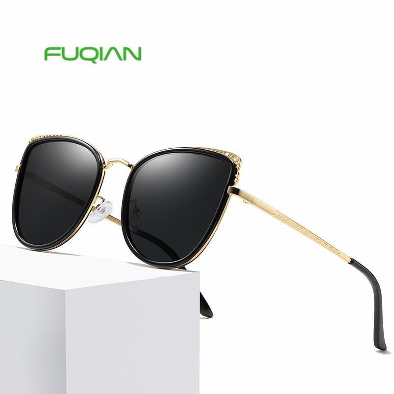 Vintage fancy brand gradient sunglasses women cat eye uv400 gold frame sun glassesVintage fancy brand gradient sunglasses women cat eye uv400 gold frame sun glasses