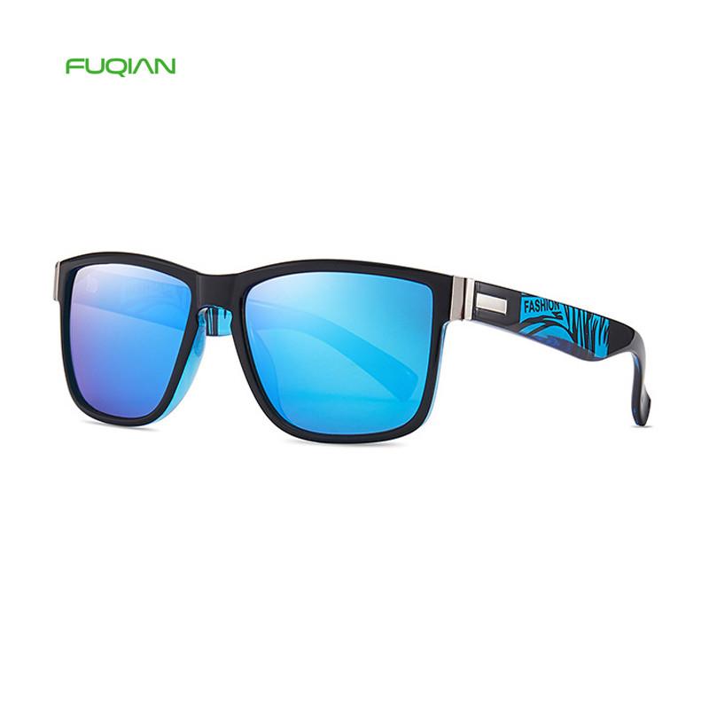 High Quality Fashion Amazon AliExpress Mirror Blue Square Polarized Men Sunglasses