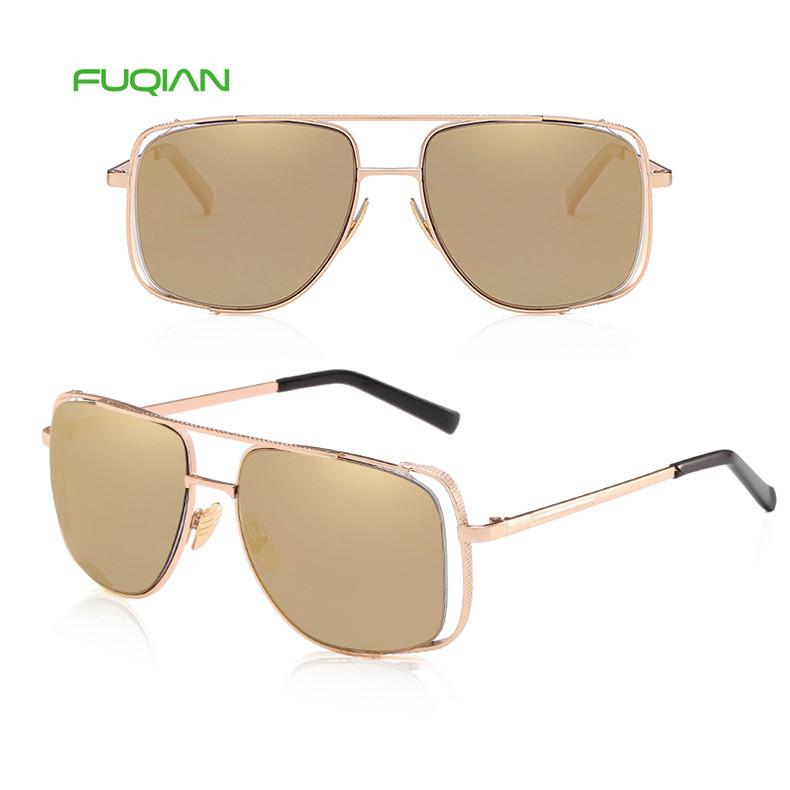 Ready Stock Mirror Square Frame Outdoors Driving PC Anti-UV Sunglasses