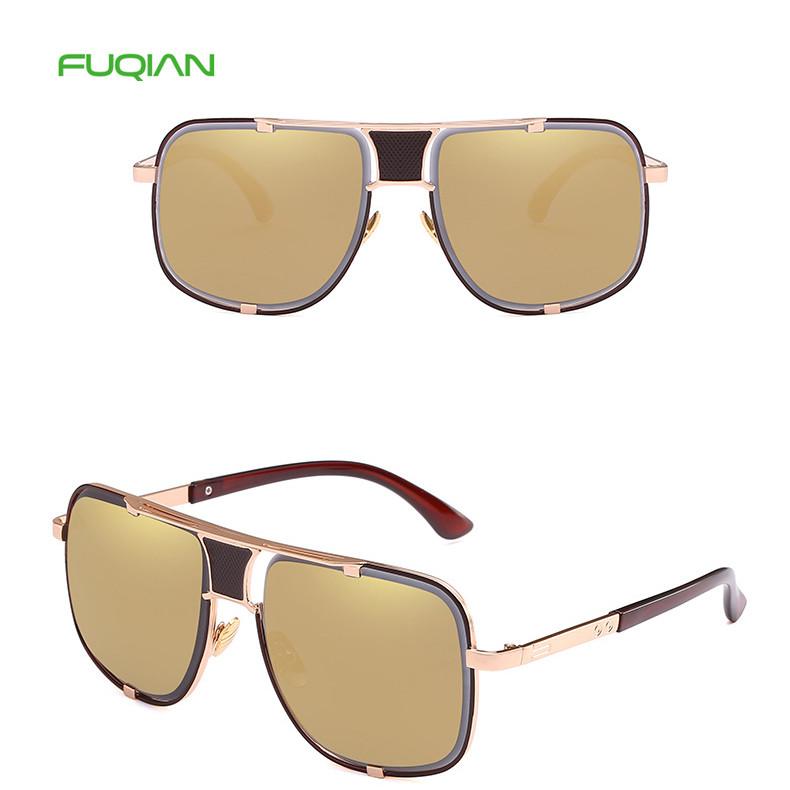 Hot Sell 2019 Retro Outdoors Driving Square Metal Mirror Men Sunglasses