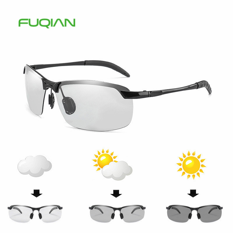Fashion Cycling Driving Change Color Alloy Frame Glasses Photochromic Lens Polarized Men SunglassesFashion Cycling Driving Change Color Alloy Frame Glasses Photochromic Lens Polarized Men Sunglasses
