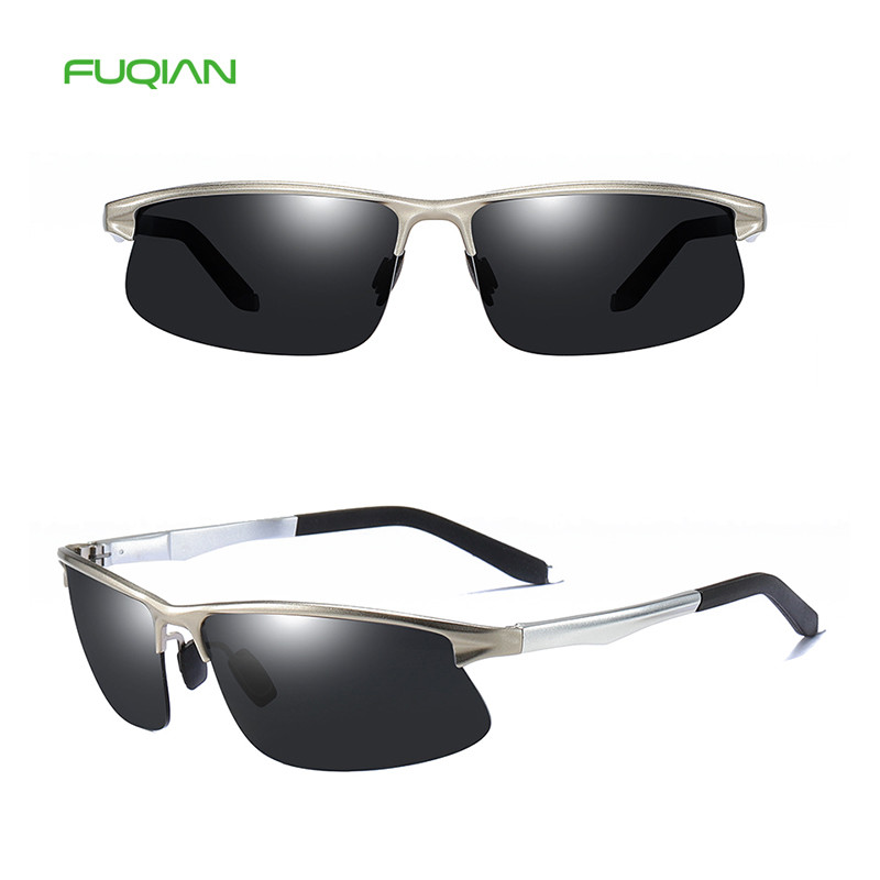 Trendy Metal Rectangle Frame Polarized Custom Logo Retro Men Eyewear