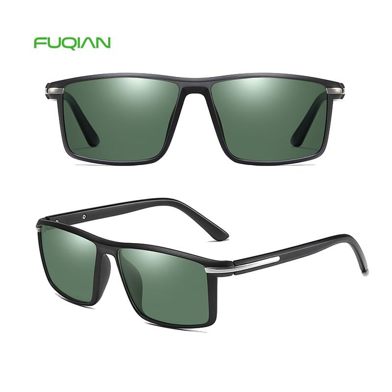 2019 Flat Top Square TR90 Frame Polarized Custom Logo Male Sunglasses