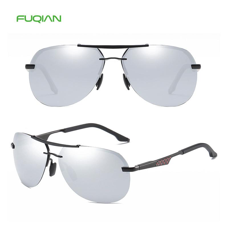 Trendy Round Metal Frame Polarized Pilot Aviation Driving Men Sunglasses