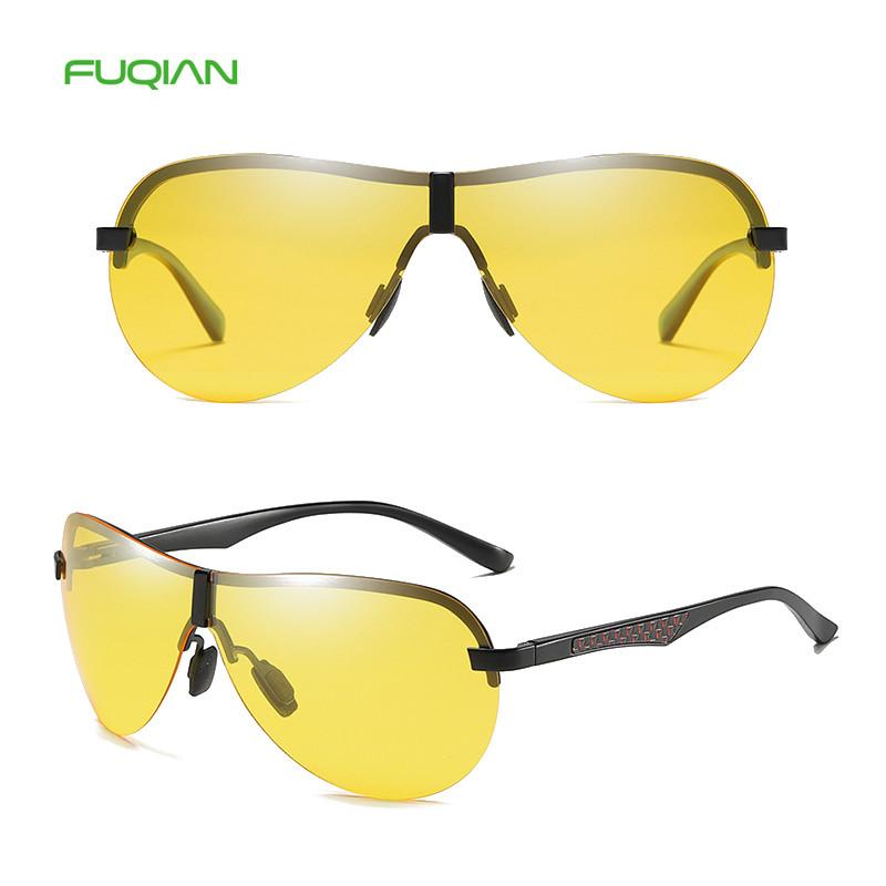 Brand Designer Round Metal Frame Polarized Night Vision Men Sunglasses