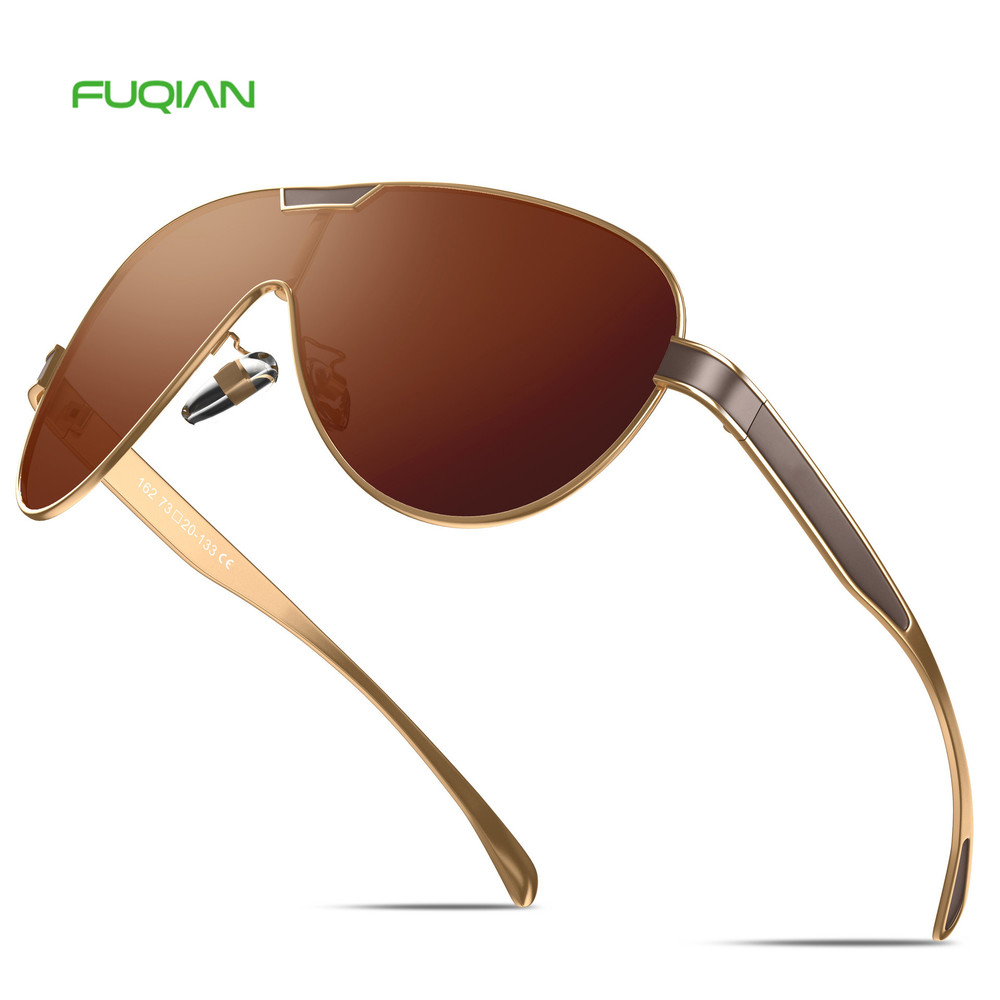 Newest 2019 Shades One Piece Alloy TAC Sun Glass Mirror Polarized Sunglasses Men