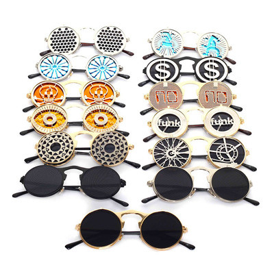 Luxury Oculos De Sol Customized Women Men Pattern Spring Filp Round SunglassesLuxury Oculos De Sol Customized Women Men Pattern Spring Filp Round Sunglasses