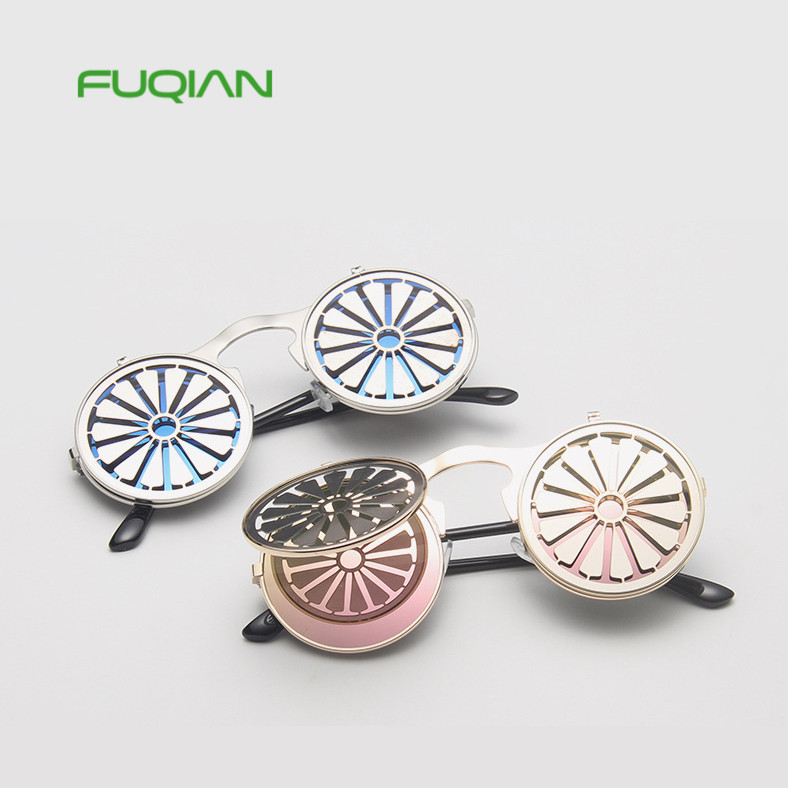 Cool Retro Steampunk Sunglasses Men Women Wheel Funny Flip Punk Round Sun Glasses
