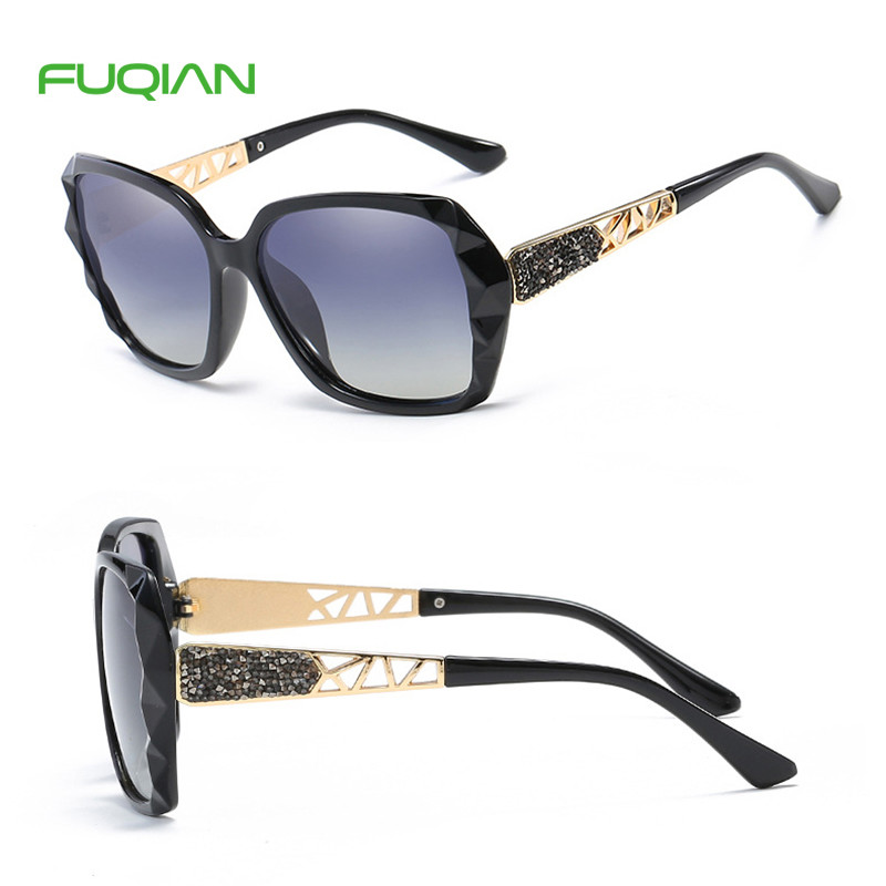 2019 Brand Designer Polarized Round Plastic Big Frame Women Sunglasses