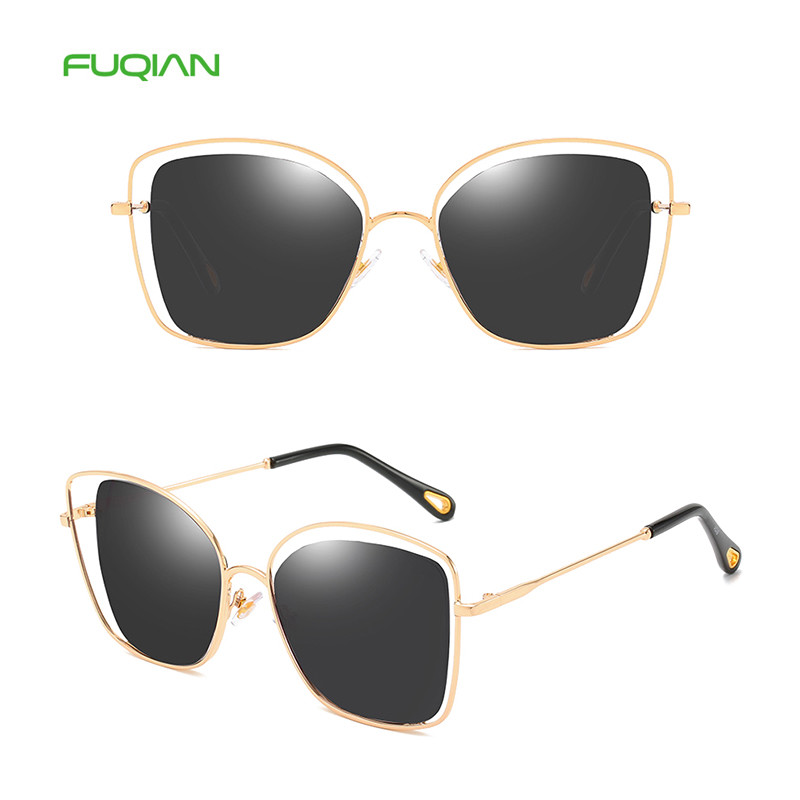 OEM Metal Frame Hollow Out Breathable Lens Photochromic Women Square Sunglasses