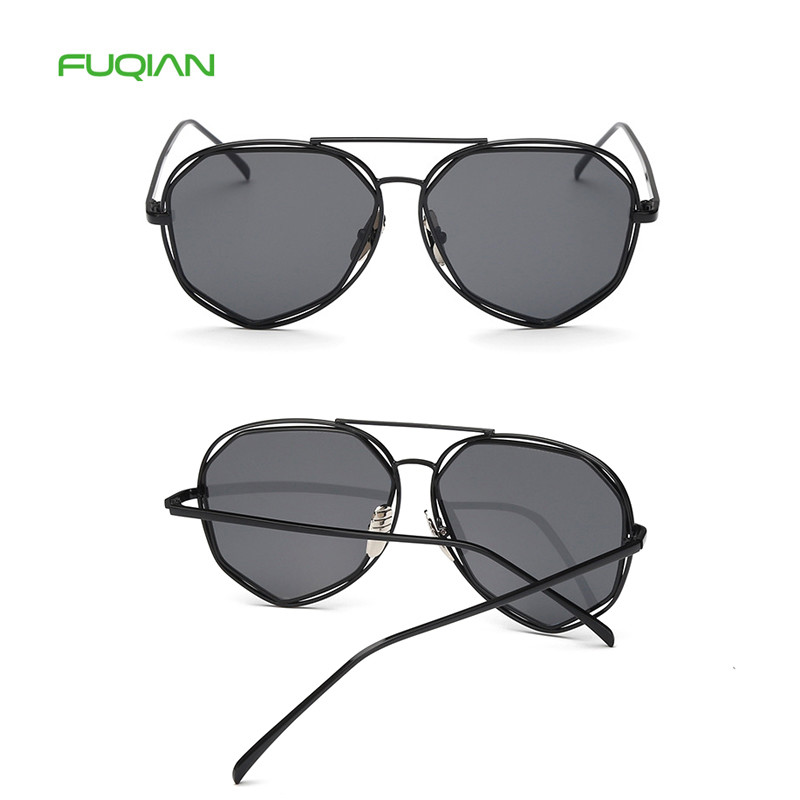 Candy Color Irregular Metal Plastic Women 2019 UV400 Mirror Sunglasses