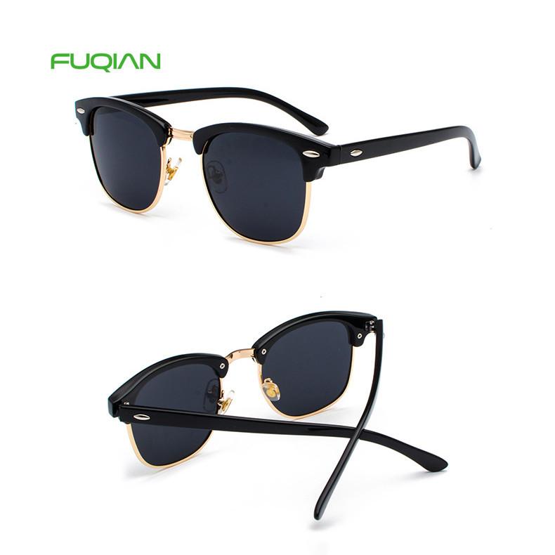 Fashion Semi Metal Frame Polarized Women Unisex Custom Logo Sunglasses