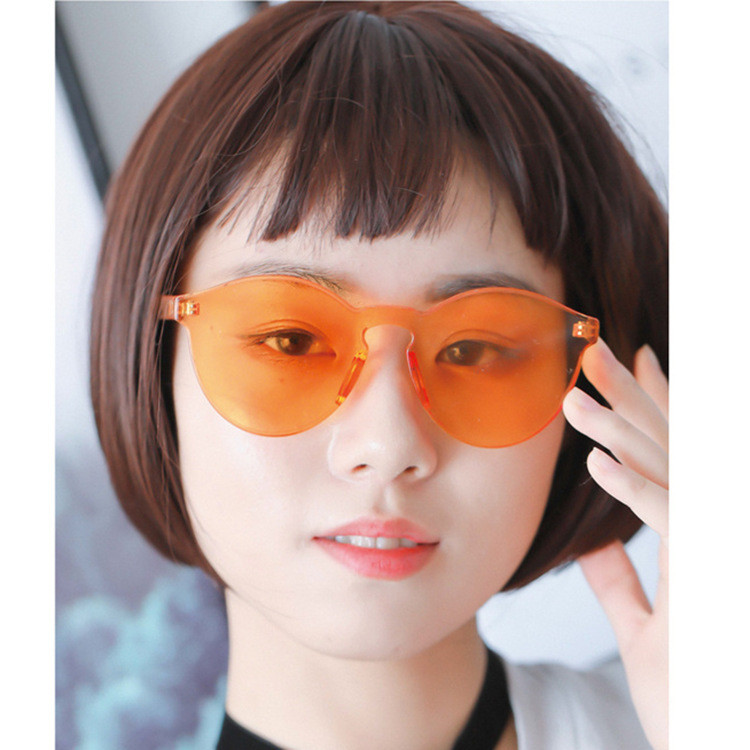 Rimless Colorful Candy Clear Lens Round One Piece Unisex UV400 Sunglasses