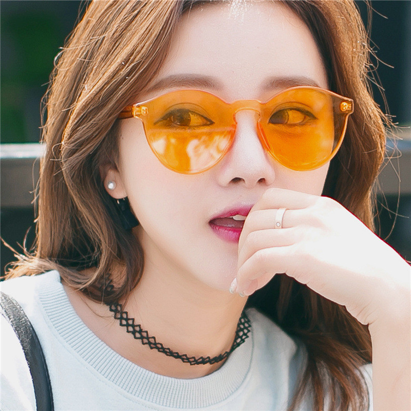 Fashion 2018 Jelly Candy Clear Colorful Lens Round Men Women Sunglasses