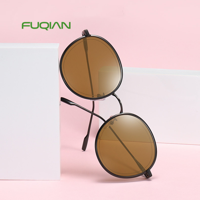 Classic female male unisex sun glasses round frame custom sunglasses