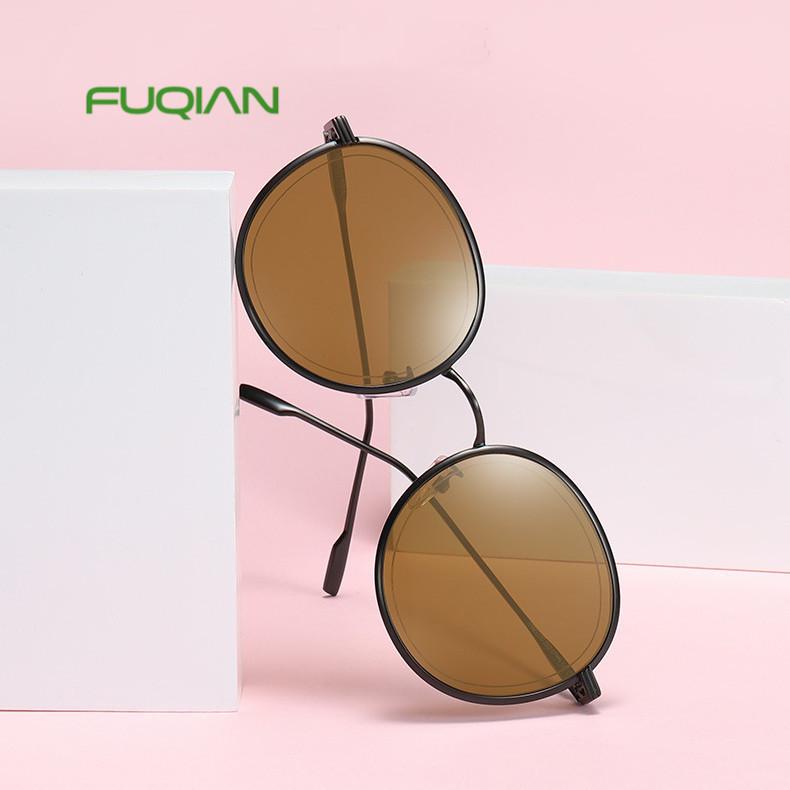 Classic female male unisex sun glasses round frame custom sunglasses