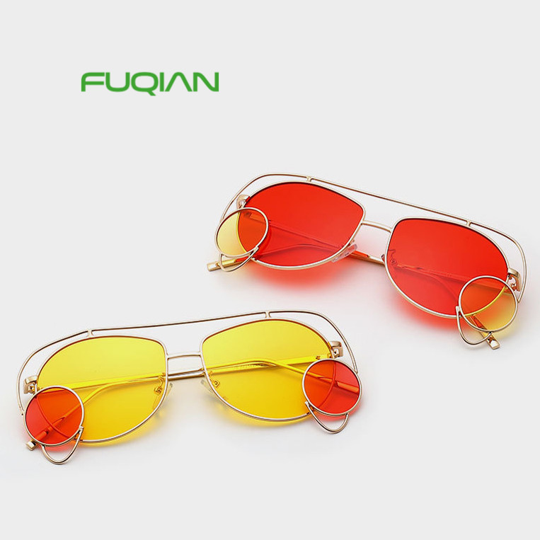 Online shopping polarized fancy metal irregular frame women man sunglasses with custom logo