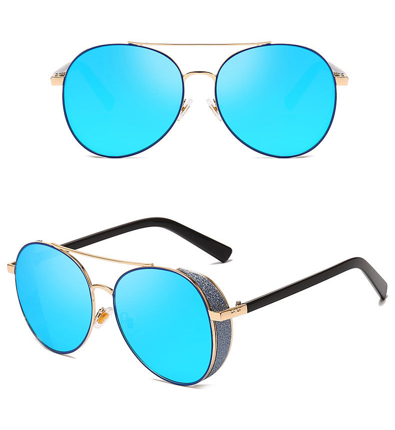 Retro Men Travelling 2019 Round Frame Colorful Women Metal Sunglasses