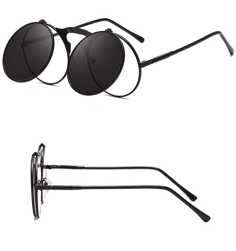 Cool Dazzle Men Metal Plastic Flip Cover Round Women Vintage Sunglasses