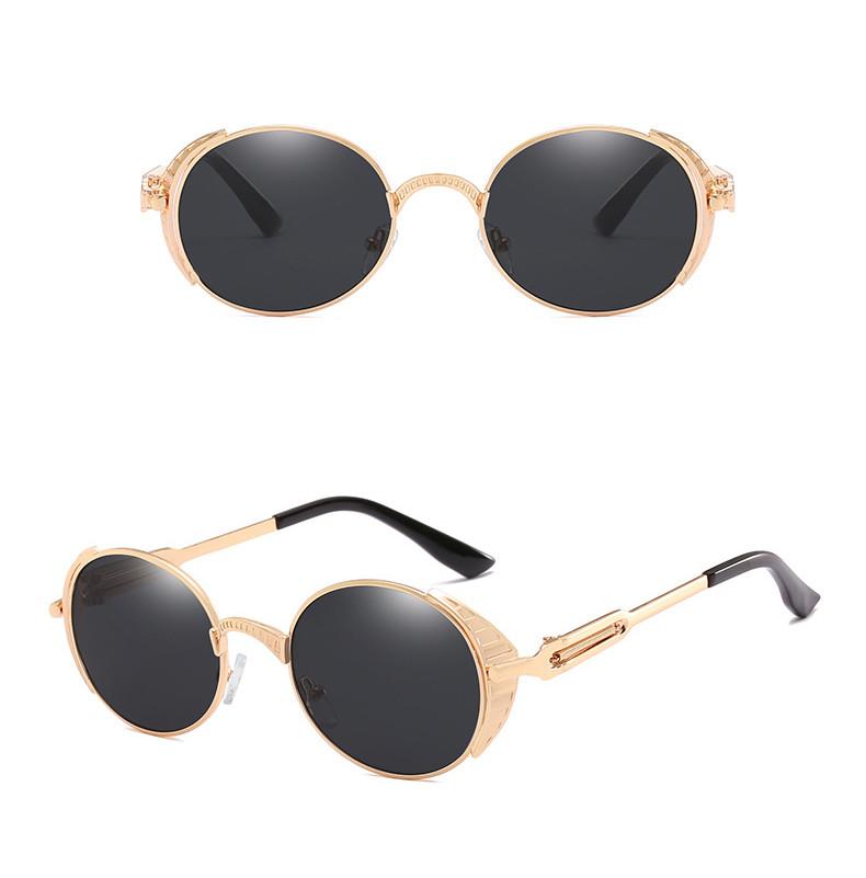 Vintage 2019 Men Gothic Steampunk Small Round Frame Women Sunglasses
