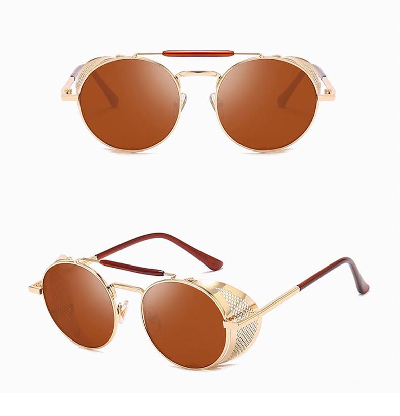 Hot 2019 Cool Dazzle Men Mirror Round Frame Steampunk Women Sunglasses