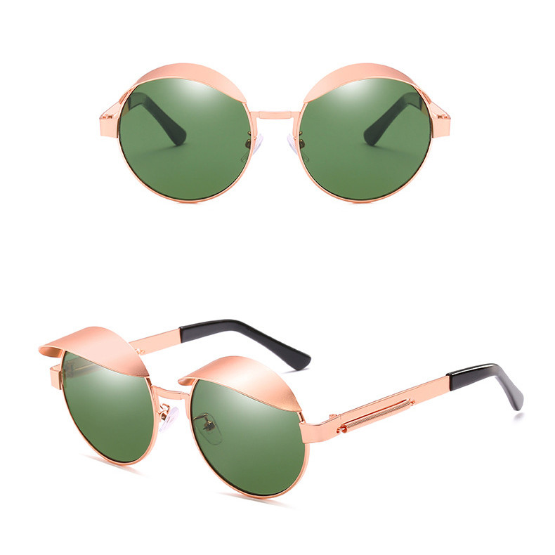 Designer Small Round Lens Women Metal Frame Mirror Shades Men Eyewear