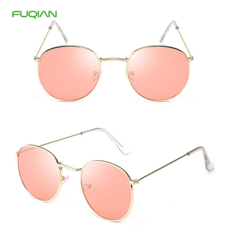 Fashion Ray Band Mirror Metal Round Frame Women Shades Men Sunglasses