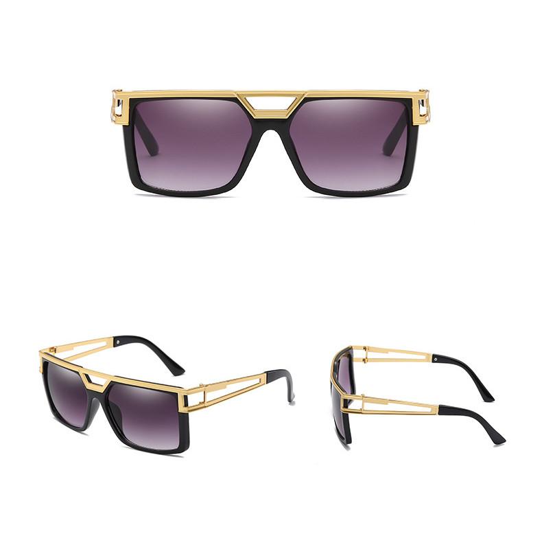 Vintage Square Metal Frame UV400 Women Men PC Mirror Shades Sunglasses
