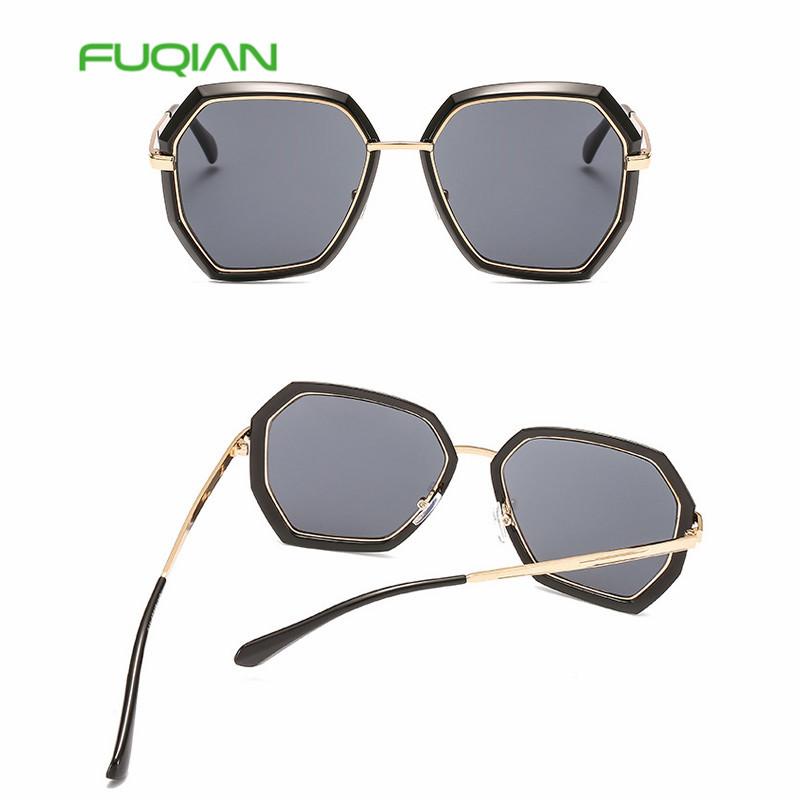 2019 trend new irregular sunglasses gradient marine lens metal glasses
