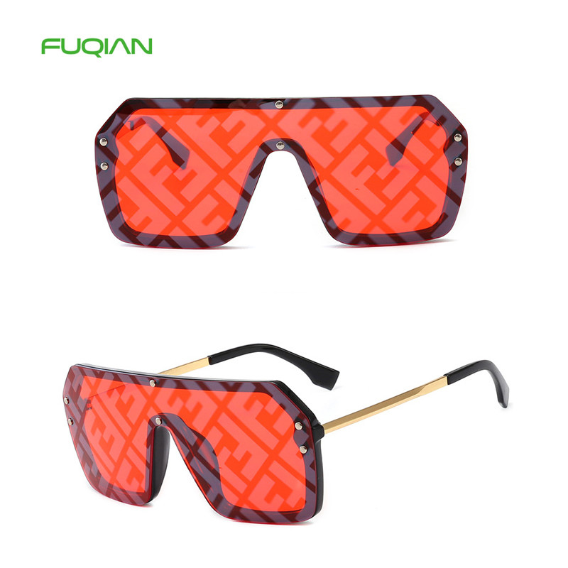 New Oversized Siamese Square Sunglasses Women Mirror Shade Vintage Male Eyewear Windproof Retro Glasses Irregular Okulary