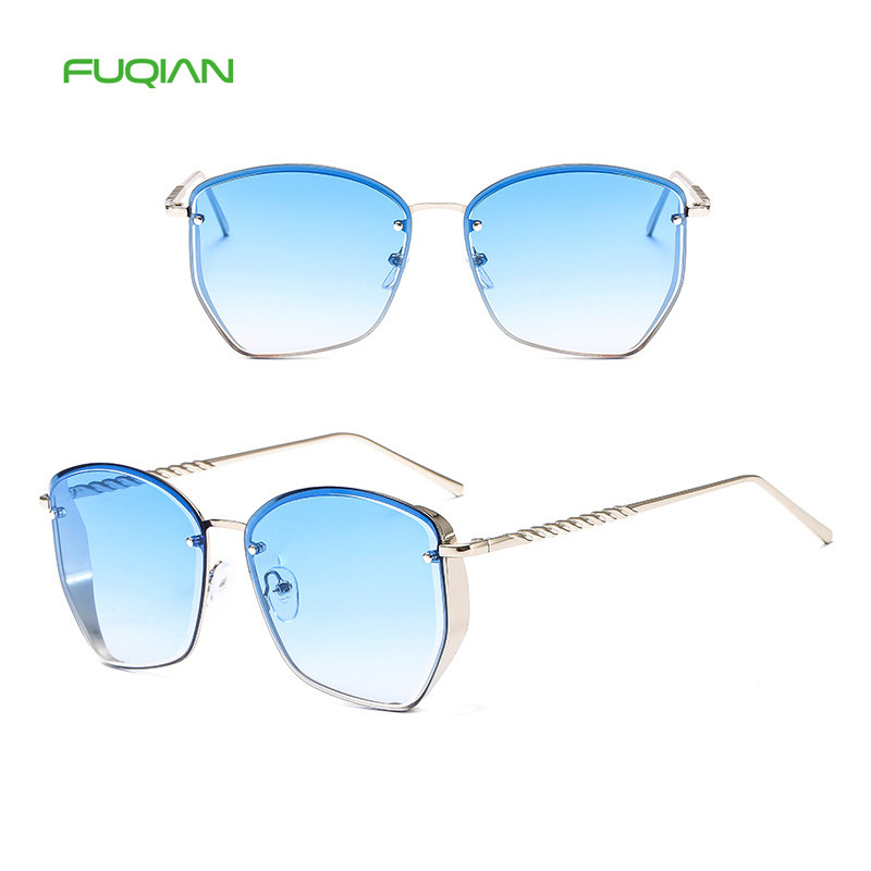 Steampunk Thick Side Metal Sunglasses Hot Gozluk Square Gradient Glasses