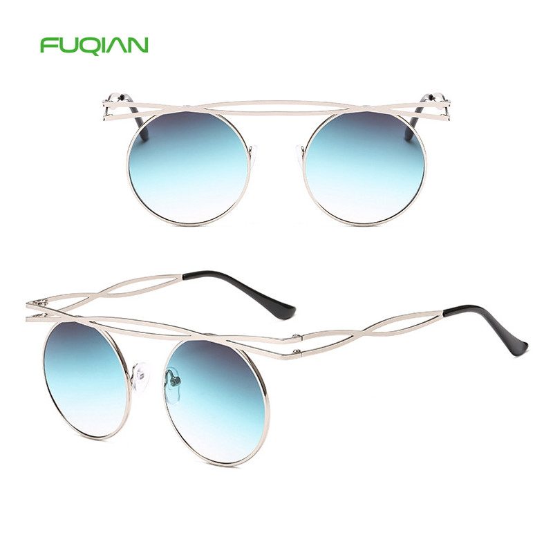 2019 Man Woman Round Glasses Hollow Personality Frame Fashion Sunglasses