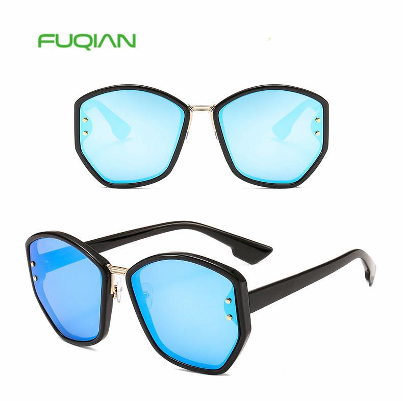 2019 Cool Metal Custom Logo Fashion Branded SunglassesFor Men Women Square Polygon Glasses