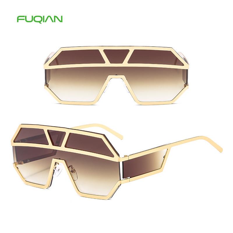 2019 Oversized Big Metal Frame One Piece Glasses Cool Retro Shield Sunglasses