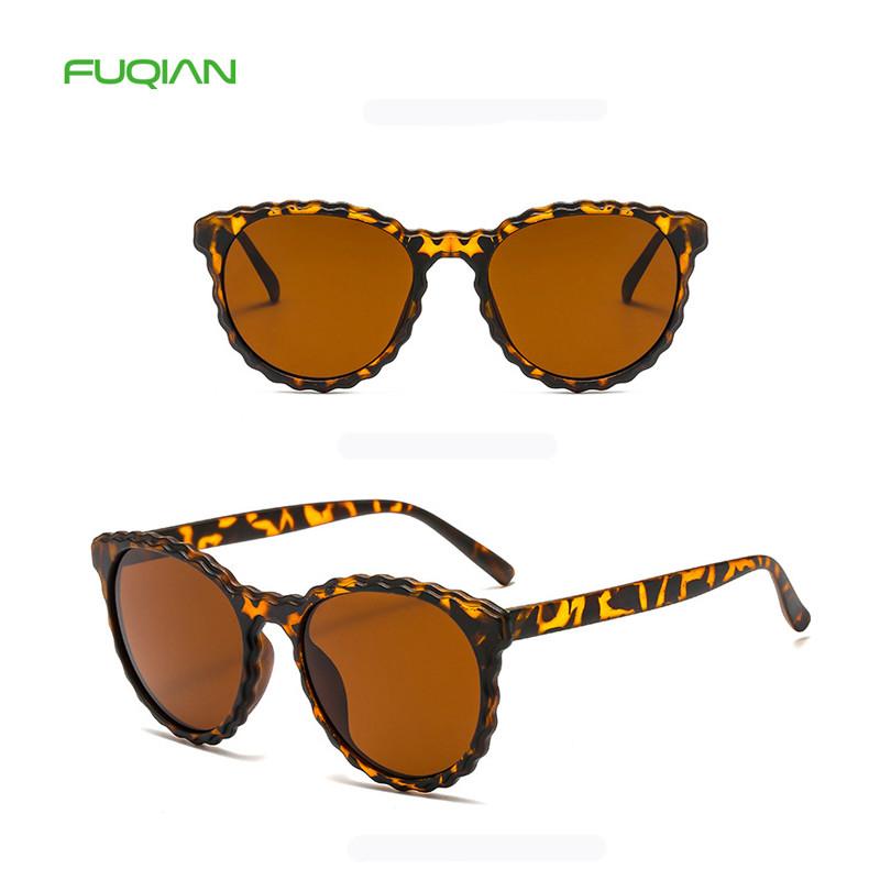 New Trend Wavy Edge Sunglasses Round Frame Retro Men Women Unisex Glasses