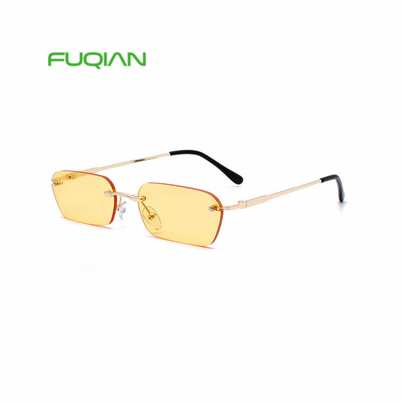 2019 Rimless Small Mini Vintage Favor Rectangle For Women Men Sunglasses
