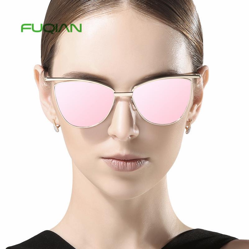 2019 Vintage Rose Gold Mirror Women male oculos Metal Cat Eye Sunglasses2019 Vintage Rose Gold Mirror Women male oculos Metal Cat Eye Sunglasses