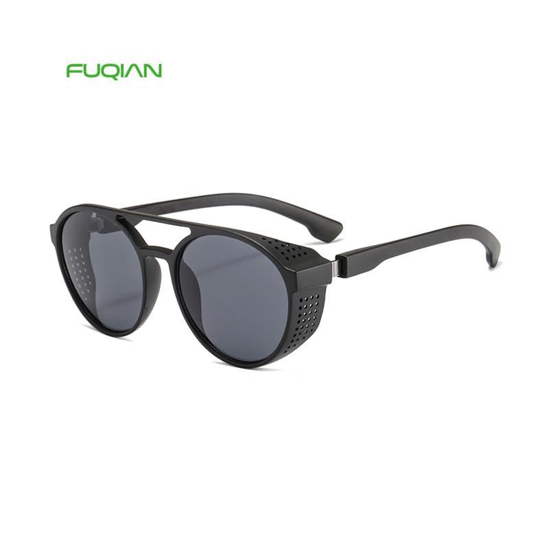 2019 New Steampunk Round Frame Retro Thick Men Women Sunglasses