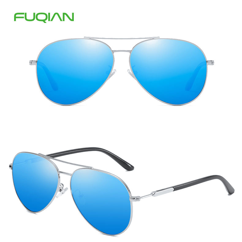 Fuqian Trendy Metal Frame TAC Unisex Polarized Women Men Sunglasses