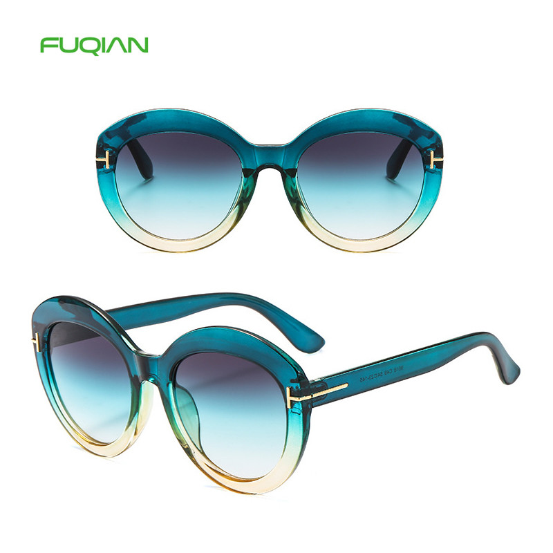 New Two color retro gradient sunglasses men women vintage sun glasses