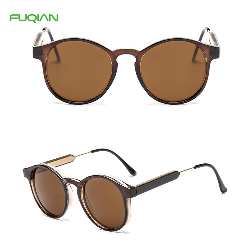 Trendy Round Metal Frame Women UnisexPC Mirror Shades Men Sunglasses