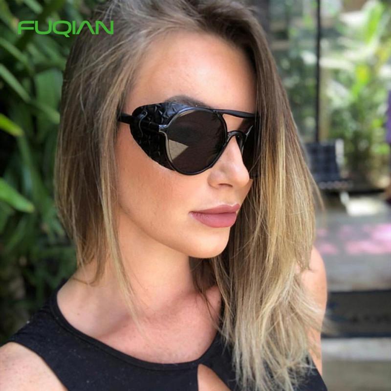 Fashion Steampunk Leather Decorative Cool Dazzle Men Ladies Sunglasses
