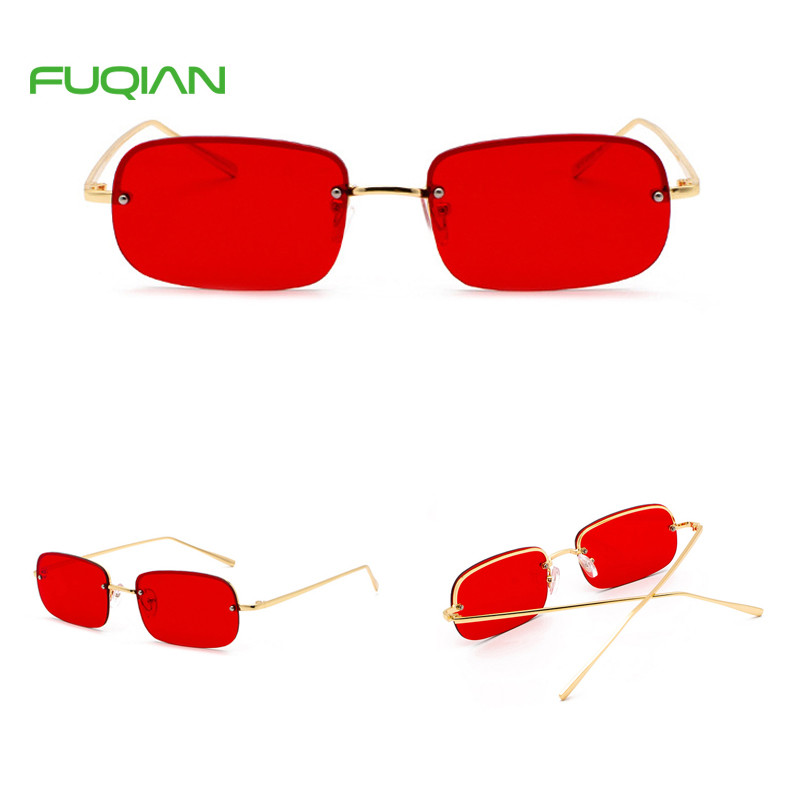 Fashion Semi-Rimless Rectangle Cat3 UV400 Men Women Sun Glass Sunglasses