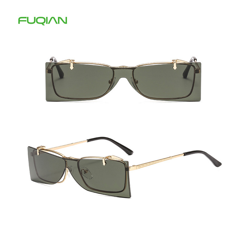 2020 Trendy Retro Metal Frame Flip Lens Shade Men Women Square SunglassesCustom Logo Retro Metal Rimless Overturned Shade Men Women Square Sunglasses